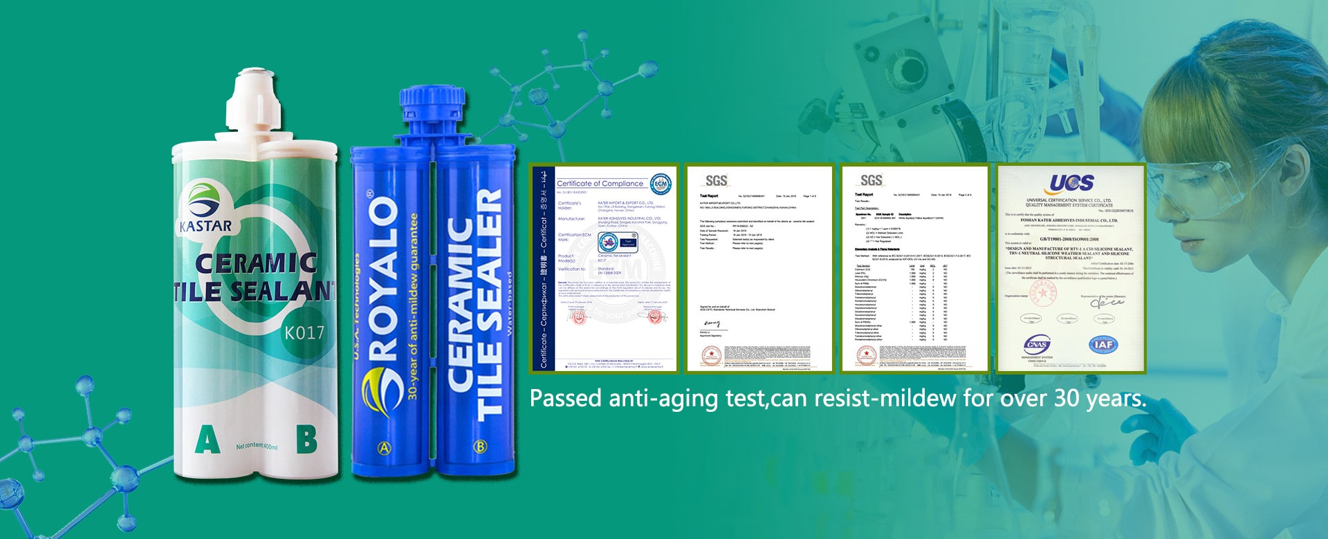Passed anti-aging test,can resist-mildew for over 30 years.